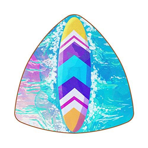 Posavasos triangulares para bebidas de color acuarela tabla de surf taza de cuero tapete para proteger muebles, resistente al calor, decoración de bar de cocina, juego de 6