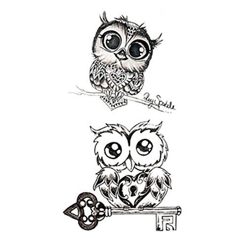 Set of 5 Waterproof Temporary Fake Tattoo Stickers Classic Grey Night Owls Animals Cartoon Design Kids Child