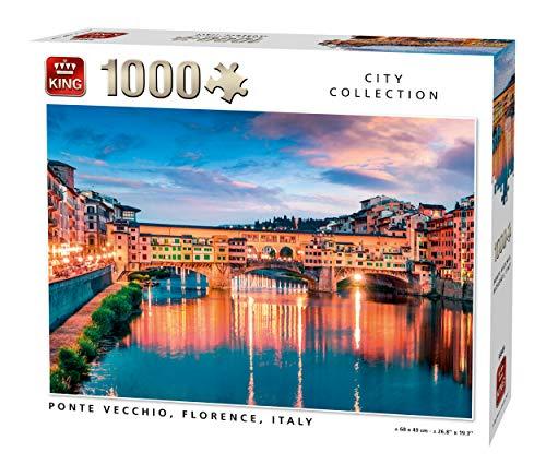 KING 55849 Ponte Vecchio Firenze Italia Puzzle 1000 Pezzi, a colori, 68x49 cm