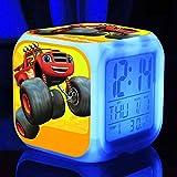 Wake Up Lights USB Blaze And The Machines LED Alarm Clock 7 Color Glowing Mood Lamp Reloj Digital Para Niños Regalo De CumpleañosB