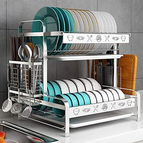 BCXGS afdruiprek van roestvrij staal, duurzame vaatafdruipmachine met eetstokjeskooi en snijplankstandaard, ideaal voor keukenwerkbladen