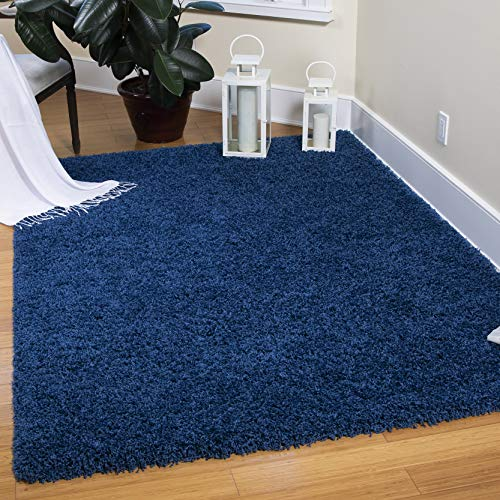 """Ottomanson Cozy Color Contemporary Living and Bedroom Soft Shaggy Area Kids Solid Shag Rug, 7'10"""" x 9'10"""", Navy"""