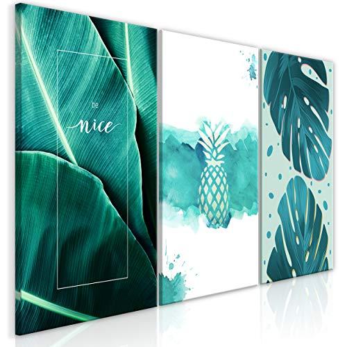 decomonkey Bilder Monstera 180x90 cm 3 Teilig Leinwandbilder Bild auf Leinwand Vlies Wandbild Kunstdruck Wanddeko Wand Wohnzimmer Wanddekoration Deko Ananas Blätter