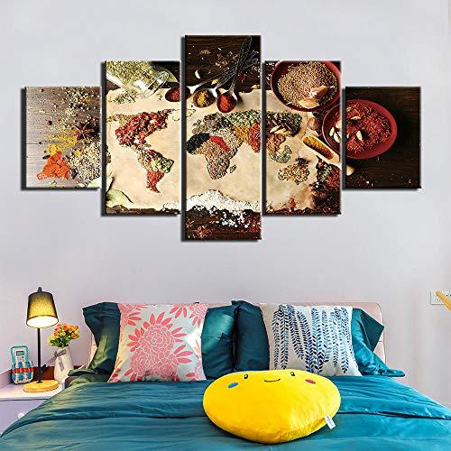 5 Piece Canvas Impreso Grano De Especias Cuchara Imagen De Pimentón Lienzo Pintura Arte De La Pared Comida Moderna Cocina Cartel Decoración Del Hogar Sin Marco