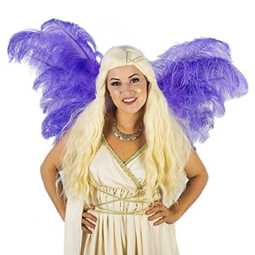 Adult Angel Fairy Wing - Purple Ostrich Feather Wings - Costume Party, Carnival