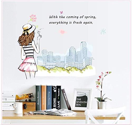 Urban Girl à la mode amovible Wall Sticker Pvc Transparent Film
