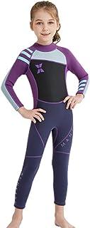 بدلة سباحة للأطفال من قطعة واحدة مصنوعة من النيوبرين بأكمام طويلة تغطي الجسم بالكامل من الأشعة فوق البنفسجية للفتيات من أج...