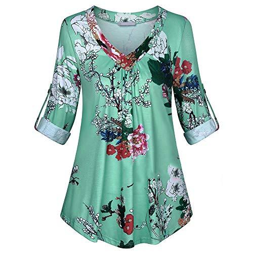 iHENGH Damen Frühling Sommer Top Bluse Bequem Lässig Mode Frauen Blusen Plus Size Langarm Print V Ausschnitt Button Pullover Tops Shirt(Blau, XL)