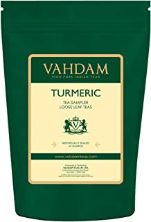 VAHDAM, Turmeric Tea Sampler - (4 TEAS, 40 Cups) - THE WONDER SPICE - Turmeric Spiced, Turmeric Ginger, Turmeric Pepper, Turmeric Saffron - Herbal Tea Variety Pack - Tea Gift Set, 2.82oz