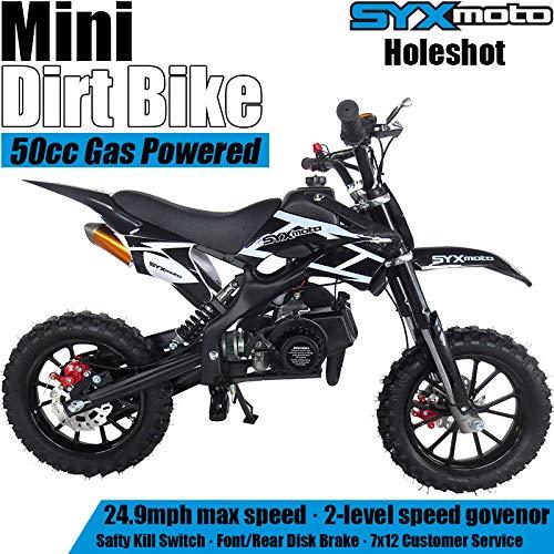 SYX MOTO Kids Mini Dirt Bike Gas Power 2-Stroke 50cc Motorcycle Holeshot Off Road Motorcycle Holeshot Pit Bike, Pull Start, Black