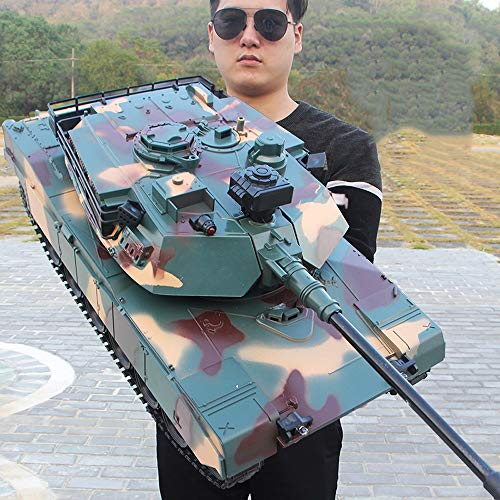 XSLY Oversized Remote Control Tank 50cm Rechargeable Tracked Tank Model Kids Toy Car Launchable Recoil with Simulation M1A2 RC Tanks Off-Road Vehicle Child Boy Toys Cars Gifts