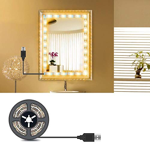 1m-5m Maquillaje Lámpara de espejo de vanidad Cable USB Tocador de tocador Adornado Decoración Cuarto de baño Luz de belleza LED impermeable-1m_Blanco cálido