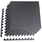 """CAP Barbell 6-Piece Puzzle Exercise Mat, Black, 1/2"""" Thick"""