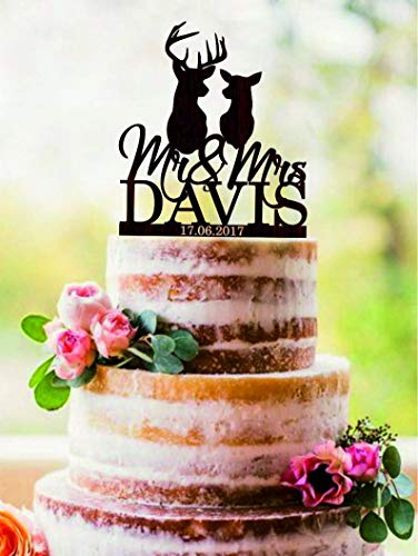 Custom deer cake topper, Mr and Mrs name wedding cake topper, Hunting cake topper, Silhouette Doe and Buck cake topper, The Hunt Is Over