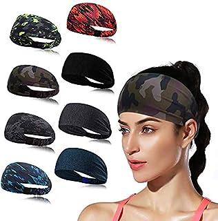 YeeSite Sports Headband for Women's Yoga Sport Athletic Running Sports Travel Fitness Elastic Wicking Workout Non Slip Lightweight Multi Headbands Headscarf Fits All Men & Women - 8 Pack