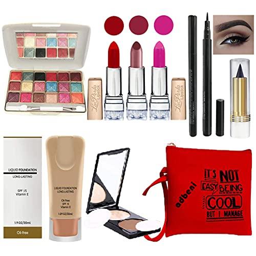 Adbeni Stylish Beauty combo makeup set (3 Pcs Lipsticks,1 Eye Shadow,1 CC Cream,1 Eyeliner,1 Compact,1 Kajal,1 Pouch) Set of 9 Pcs