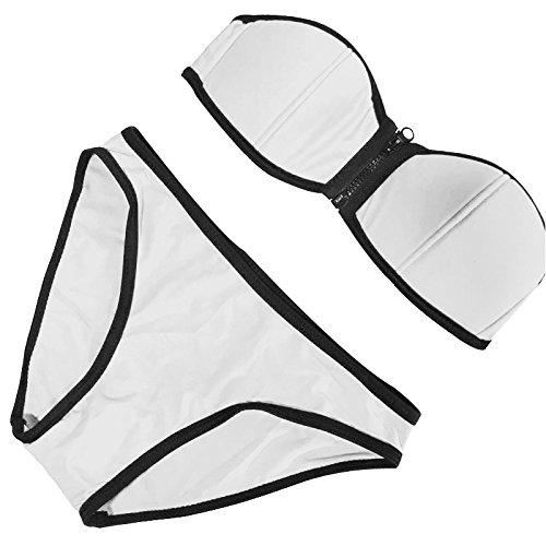 Sexy Sexy Cremallera Bikini Bikini Traje de baño Blanco S