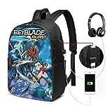 Metal Fight Bey-Blade Adult 17 in Backpack USB Outdoor Multipurpose Shoulders Laptop School Bag Knapsack Daypacks