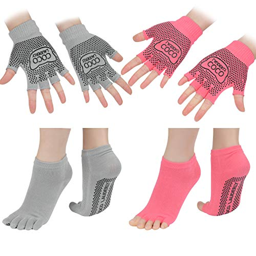 Yoga Socks for Women with Grips and Open Toe Gripper Sock 4PCS Cojzlx Comes with Yoga Non-slip Gloves Non-Slip Grips, Straps, Ideal for Pilates, Pure Barre, Ballet, Dance, Barefoot Workout
