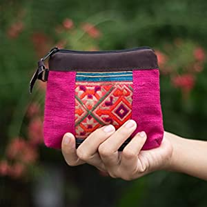 Changnoi Pink Vintage Embroidered Coin Pouch Handmade by Hmong Hill Tribe