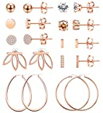 LOYALLOOK 10 Pairs Rose Gold CZ Bar Stud Earrings Set for Women Stainless Steel Earring Lotus Flower Ear Jacket Stud Hoop Earring Women Cartilage Earring Set