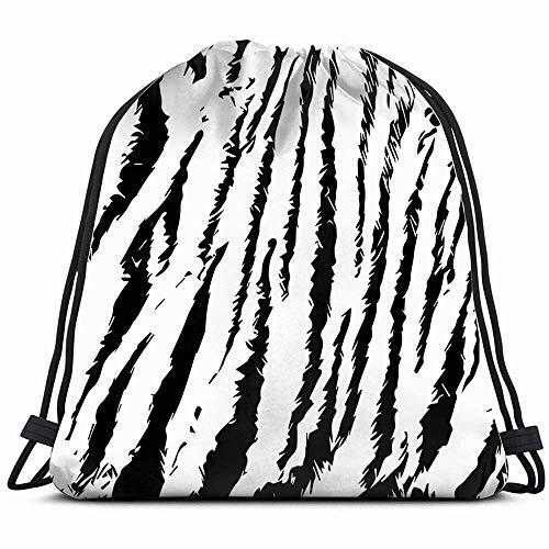 Trama van natuurbont, model tijger Grunge, zebra trekkoordtas, voor kinderen, meisjes, jongens, jongens, jongens, verjaardagscadeau, schoudertas, cinch schooltas, party 14 x 17 inch