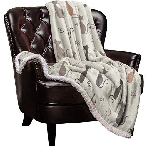 Manta de forro polar de franela suave para sofá de gato de dibujos animados, funda de viaje para coche, colcha mullida de 150 x 200 cm