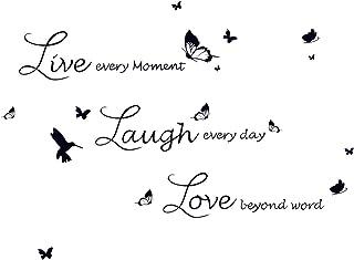 decalmile Vinilos Frases Live Love Laugh Mariposa Pegatinas de Pared Decoración del Hogar para Sala de Estar Dormitorio Of...