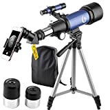 70x400mm Telescope for Kids and Beginners-70mm Apeture Travel Scope 400mm AZ Mount - Good Partner to View Moon and Planet - with Backpack and Smartphone Mount(Blue)