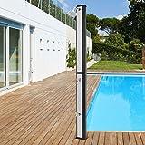 ECD Germany Ducha Solar de Jardín Negro Plateado 35L 217cm Agua Caliente hasta 60°C sin Electricidad con Conexión para Manguera Moderno Elegante Cabezal Ducha de Lluvia Ajustable y Grifo para Piscina