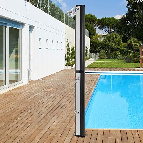 ECD Germany Ducha Solar de Jardín Negro Plateado 35L 217cm Agua Caliente...