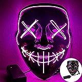 CICADAS LED Purge Maske,Halloween Maske mit 3 Blitzmodifür Fasching Karneval Party Kostüm Cosplay Dekoration (Violett)
