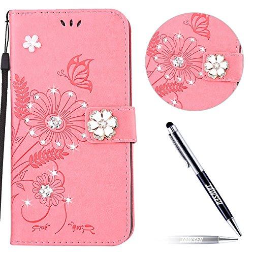 JAWSEU Kompatibel mit Huawei P10 Lite Hülle, Glänzend Glitzer Strass Diamant Blumen Ledertasche PU Leder Flip Case Wallet Brieftasche Hülle Etui Handyhülle Schutzhülle Für Huawei P10 Lite,Rosa