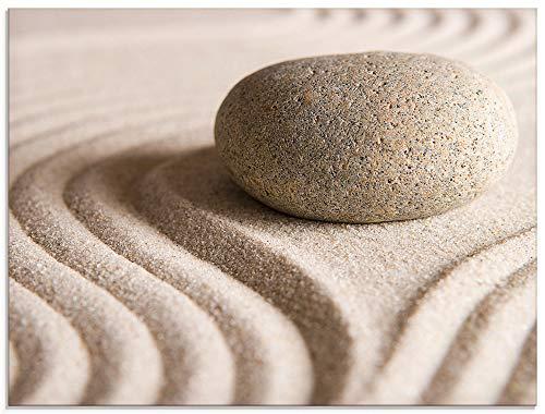 Artland Glasbilder Wandbild Glas Bild einteilig 60x45 cm Querformat Zen Steine Sand Entspannung Strand Maritim S6BH