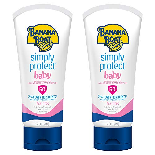Banana Boat Simply Protect Tear Free, Reef Friendly Sunscreen Lotion for Baby, Broad Spectrum SPF 50, 25% Fewer Ingredients, 6 Ounces - Twin Pack