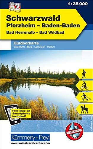 Schwarzwald, Pforzheim, Baden-Baden, Bad Herrenalb, Bad Wildbad: Nr. 52, Outdoorkarte Deutschland, 1:35 000, Mit kostenlosem Download für Smartphone (Kümmerly+Frey Outdoorkarten Deutschland)