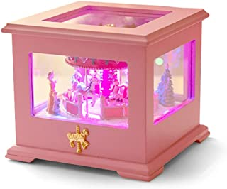Ya-Ya Caja de música Creativa Carrusel Music Box Square Luces cambian de Color Luminoso Music Box Melody Girl (Castillo en el Cielo, Rosa) Mejor Regalo (Color : Pink)