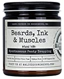 Malicious Women Candle Co - Beards, Ink & Muscles, Take A Hike (Wildflower, Cedar, Moss) Infused with Spontaneous Panty Dropping, All-Natural Organic Soy Candle, 9 oz