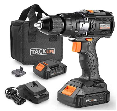 TACKLIFE Cordless Drill Brushless 20V, 2.0Ah Lithium-Ion Battery with Hammer drill. 20+3 Clutch, Max Torque 50Nm, 1/2' Metal Chuck, 2-Speed, Brushless motor drill with LED- BLPCD02B