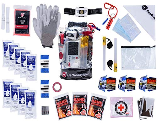 GETREADYNOW 72-Hour kit Grab & Go Emergency Kit with Essential Survival Supplies for 3 Days - Hurricane, Earthquake, Tornado Disaster Preparedness Kit - Heavy Duty Waterproof Bag