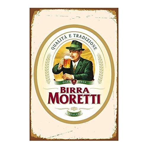 "2158 Letrero de metal con texto en inglés ""Birra Moretti"" (Italia) y cerveza italiana (7.8 x 11.8 pulgadas)"