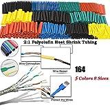 Kit de tubos termorretráctiles de 164 piezas, aislamiento eléctrico, funda de cable retráctil, 5 colores en 8 tamaños