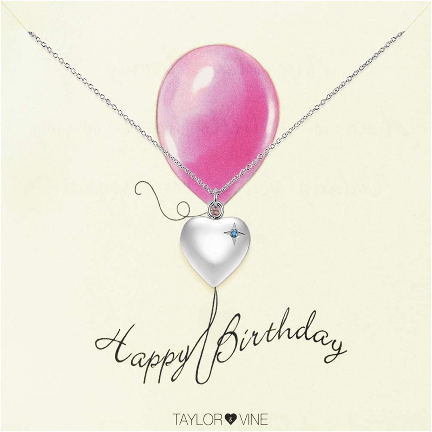 Happy Birthday Heart Pendant Necklace Engraved Happy Birthday Silver Tone with CZ by Taylor & Vine