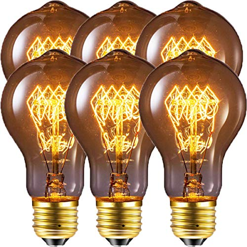 Edison Bulb, FadimiKoo Vintage Bulb 60W Dimmable A19 Squirrel Cage Filament Edison Lihgt Bulb for Home Light Fixtures Decorative, Pack of 6