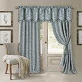 Elrene Home Fashions Rod Pocket Damask Window Valance with Tassels, 52' W x 19' L, Blue (1 Valance)