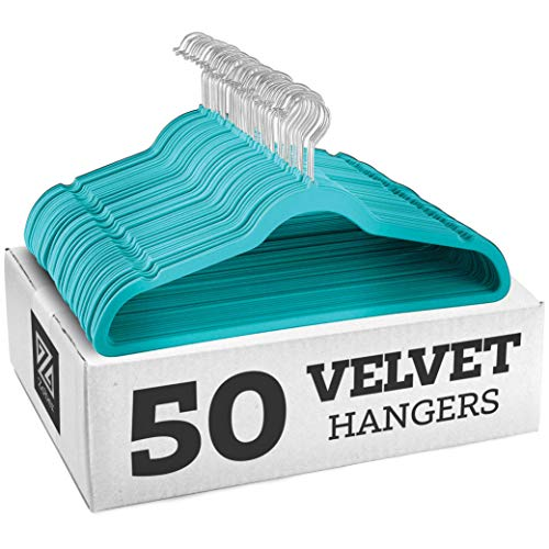 Zober Nonslip Velvet Hangers Suit Hangers 50 Pack Ultrathin Space-Saving 360-Degree-Swivel Hook Strong and Durable Clothes Hangers Hold Up-to 10 lbs for Coats Jackets Pants Dress Turquoise