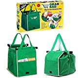 2 Pack Reusable Grab Shopping Bag Foldable Grocery Shopping Tote Bags with Handles,Clip on Shopping Cart and Easy to Clean