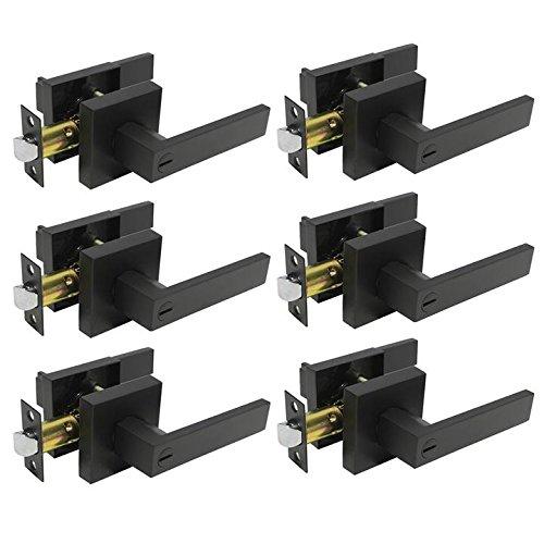 Probrico Heavy Duty Flat Black Square Privacy Interior Door Levers Bedromm and Bathroom Door Handles Keyless Bed/Bath Lockset (6 Pack)