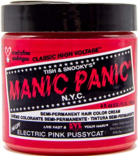 Manic Panic Electric Pink Pussycat Hair Dye - Classic High Voltage - Semi-Permanent Hair Color - Vibrant, Neon Pink Shade With Warm Orange Undertones Glows in Blacklight – Vegan, PPD & Ammonia-Free