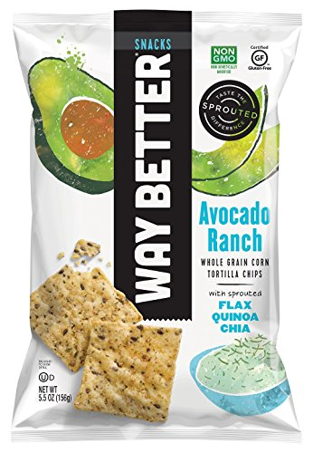 Way Better Snacks Sprouted Gluten Free Whole Grain Corn Tortilla Chips, Avocado Ranch, 4 Count